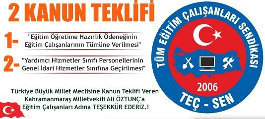 Eğitim Çalışanlarının Talebi Olan 2 Kanun Teklifini Meclise Sunan Kahramanmaraş Milletvekili Ali ÖZTUNÇ'a TEŞEKKÜR EDERİZ.!