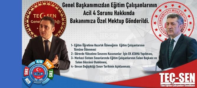 Eğitim Çalışanlarının 4 Acil Sorununu İçeren Özel Mektup Genel Başkanımız Tarafından Milli Eğitim Bakanımıza Gönderildi.!
