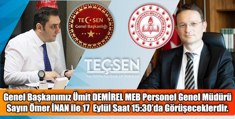 Genel Başkanımız Ümit DEMİREL MEB Personel Genel Müdürü Ömer İNAN ile 17 Eylül'de Görüşecek.