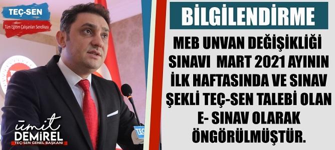 """""""MEB Unvan Değişikliği Sınavı Mart 2021 İlk Haftasında ve E-Sınav Olarak Yapılacaktır!"""""""